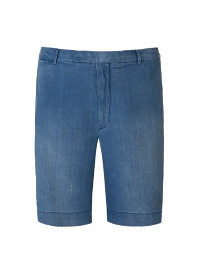 Hochwertige, washed Leinen-Bermuda im Denim-Look in BLAU