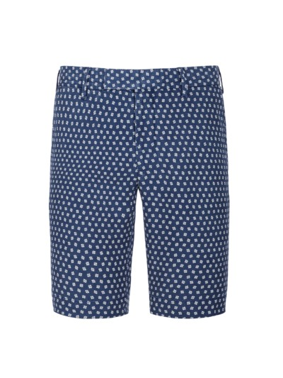 Modische Designer-Shorts aus Seide-Leinen-Mix in BLAU