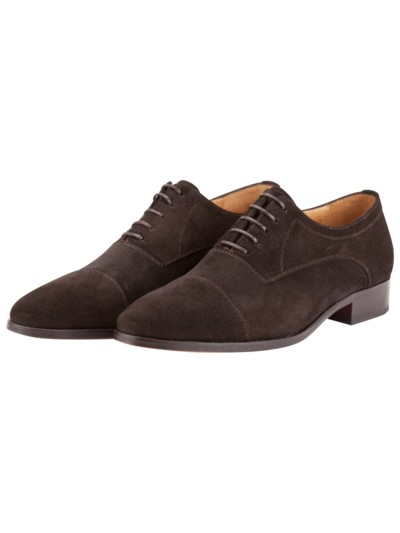 Veloursleder-Businessschuh, Oxford in DUNKELBRAUN
