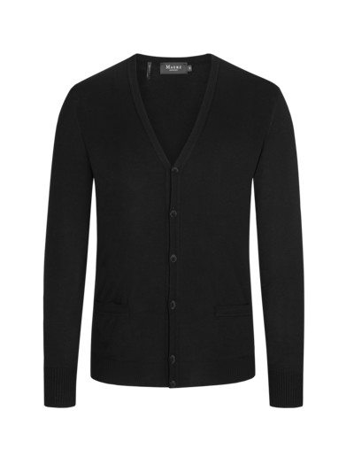 Merino wool cardigan v BLACK