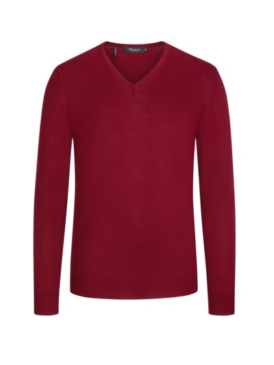 Lightweight 'Merino wool' V-neck sweater v BORDEAUX