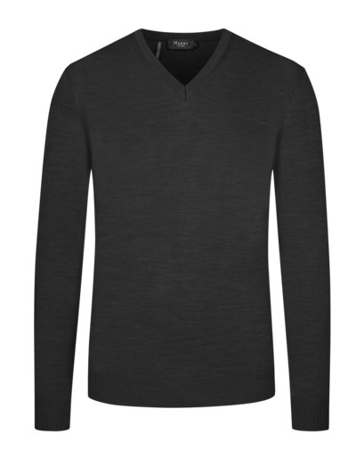 Lightweight 'Merino wool' V-neck sweater v ANTHRACITE