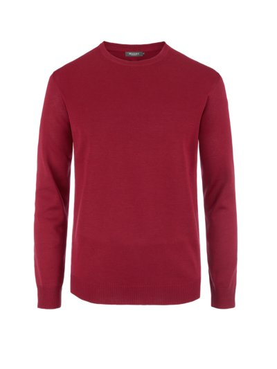 Pullover, O-Neck, in reiner Merinowolle in BORDEAUX