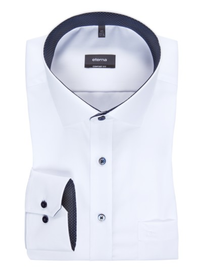 Wash & wear city shirt with breast pocket v WHITE