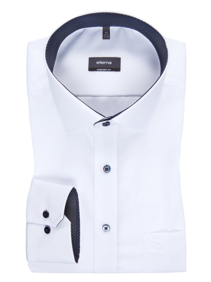 Eterna Extra-long city shirt with a breast pocket BLUE in plus size