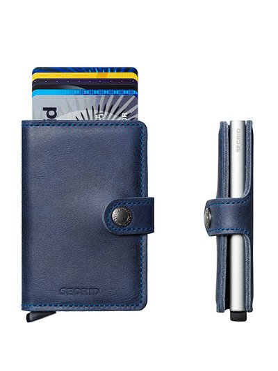 Wallet in a vintage look with card protector v BLUE