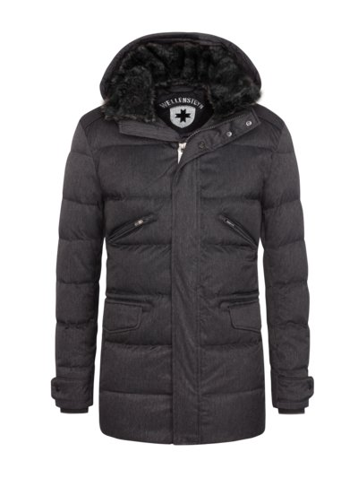 Warm down jacket with removable hood, Vallee Men v BLACK