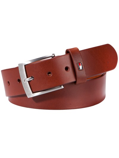 Sporty leather belt v BLACK
