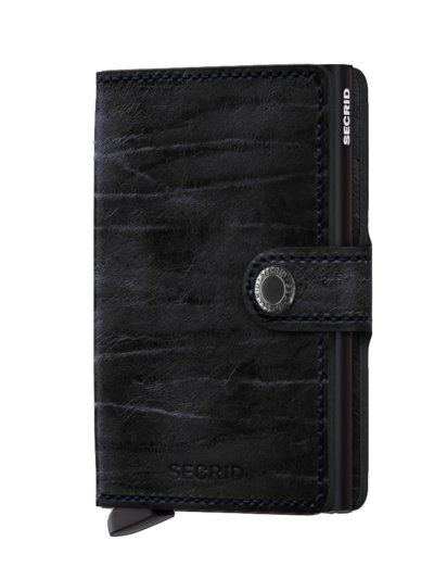 Wallet in a vintage look with card protector v BLACK