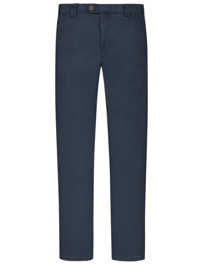 Leichte, washed Baumwollstretch-Chino ,Roma' mit dezenter Struktur in MARINE