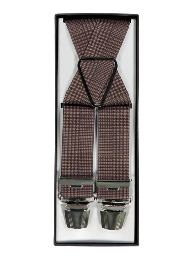 Suspenders with a micro pattern v BROWN