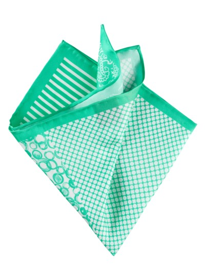 "Pocket kerchief made of 100% silk ""4 in 1"" v GREEN"