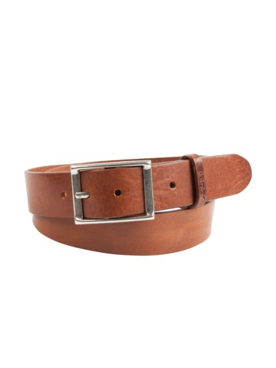 Leather belt v COGNAC