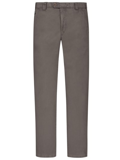 Leichte, washed Baumwollstretch-Chino ,Roma' mit dezenter Struktur in BRAUN