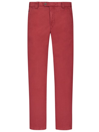 Leichte, washed Baumwollstretch-Chino ,Roma' in ROT
