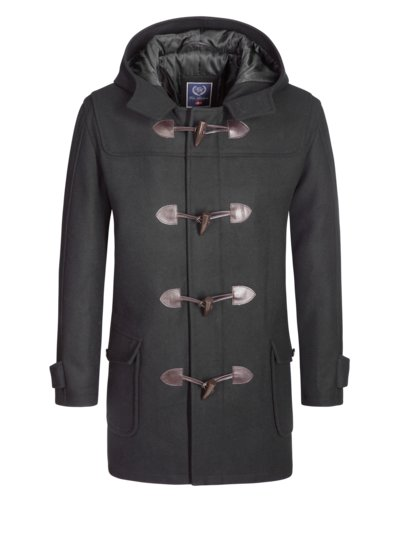 Wool blend duffle coat v BLACK
