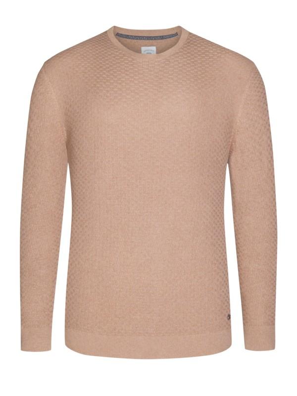 ba47a419e256 Lerros Módní pletený svetr s kulatým výstřihem koňaková – Pánská móda v  nadměrné velikosti