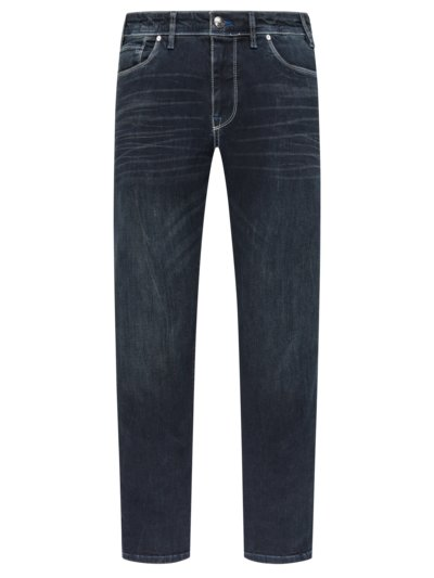 Denim-Jeans mit Stretchanteil, Destroyed-Look in MARINE