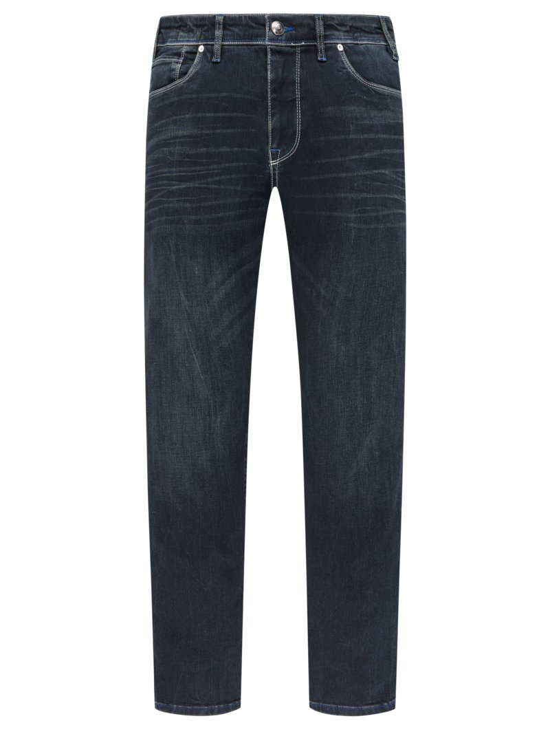 Qvadis Denim-Jeans mit Stretchanteil, Destroyed-Look MARINE in Übergröße