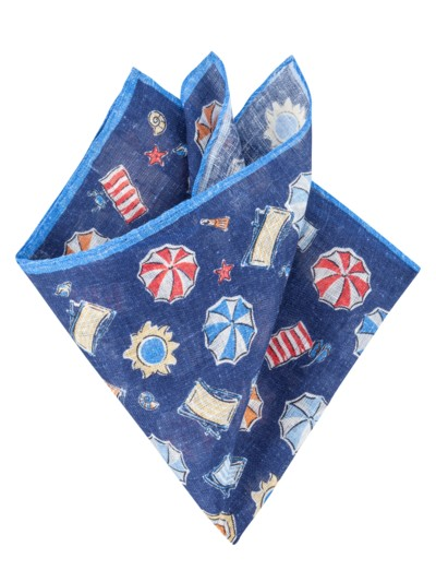 Pocket kerchief with a stylish pattern v BLUE