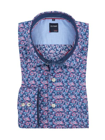 Freizeithemd mit Floral-Muster, extralang in BLAU