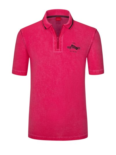 Washed look polo shirt v PINK