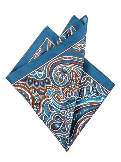 Pocket kerchief with a paisley pattern v BLUE