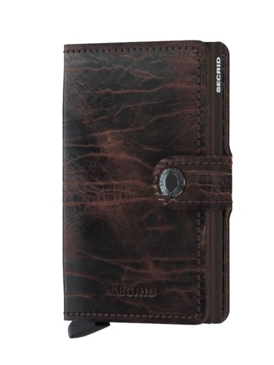 Mini wallet with card protector v BROWN