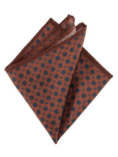 Patterned pocket kerchief v RUST
