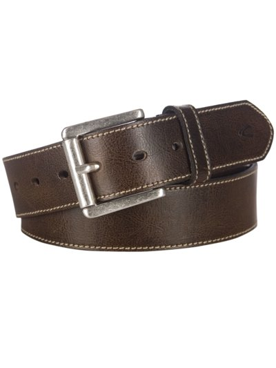 Leather belt v BROWN