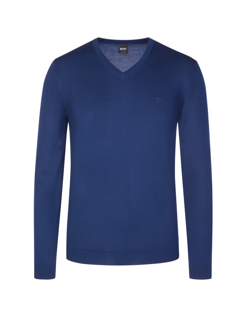 Boss Sweater with V-neck BLUE in plus size