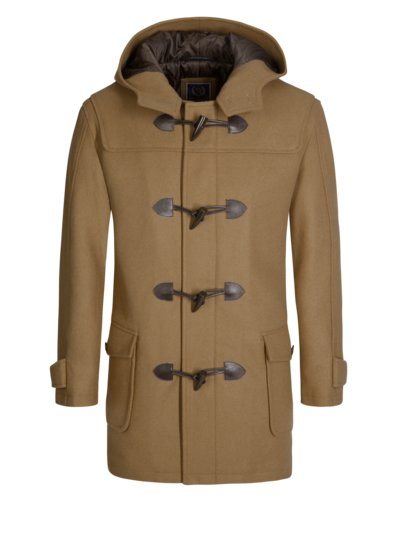 Wool blend duffle coat v BROWN