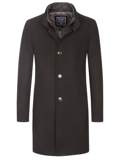 Coat with removable bib v BLACK