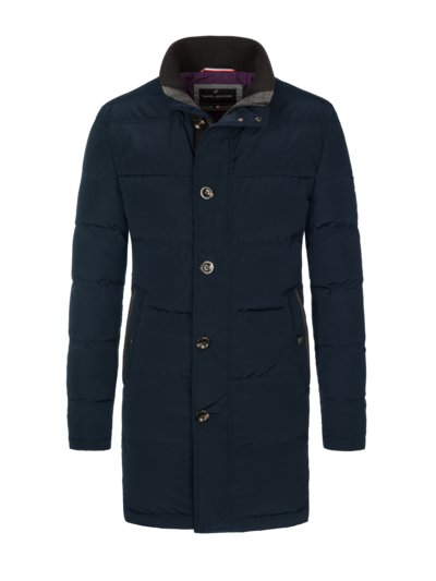Coat with quilted pattern v BLUE
