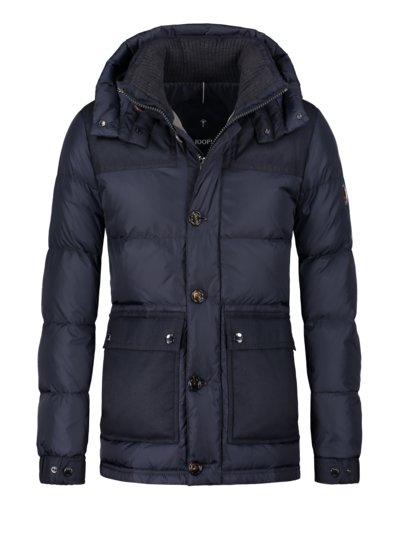 Down jacket with hood v BLUE