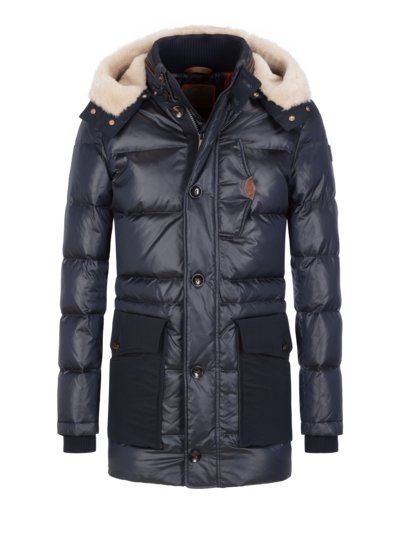 Quilted jacket with shearling hood v BLUE