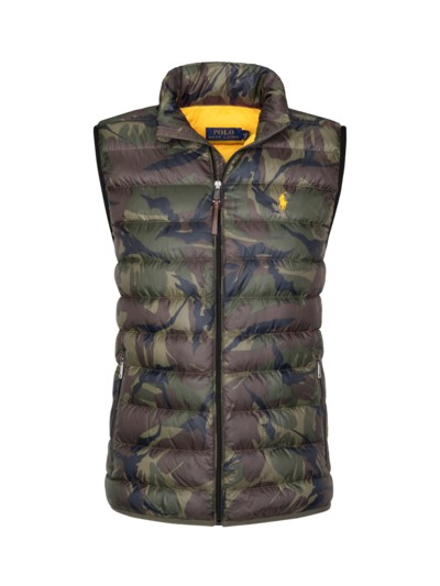 Gilet with camouflage pattern v OLIVE-
