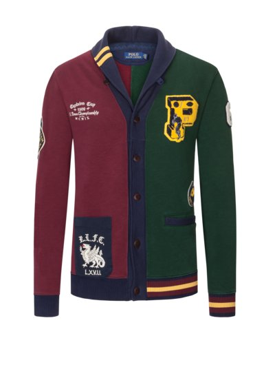 Sweatjacke mit Schalkragen in BORDEAUX