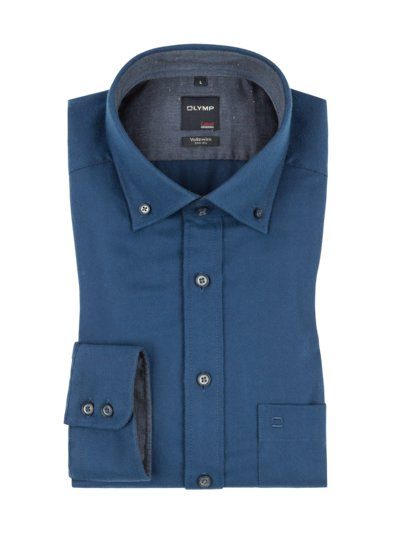 Casual modern fit Hemd, extralang in BLAU