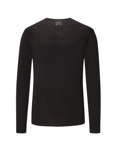 Sweatshirt, V-Neck in SCHWARZ