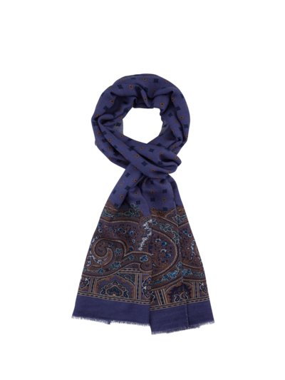 Wool scarf with Paisley pattern v BLUE