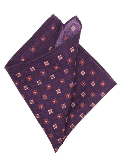 100% wool pocket kerchief v AUBERGINE