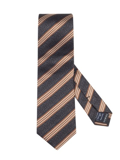 Striped silk tie v BROWN