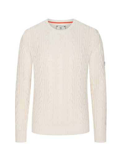 Pullover mit Zopfmuster in OFFWHITE