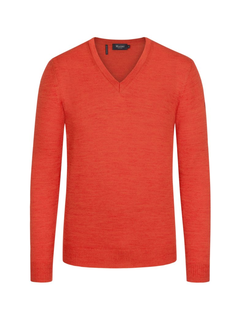 Maerz Pullover in melierter Optik ORANGE in Übergröße