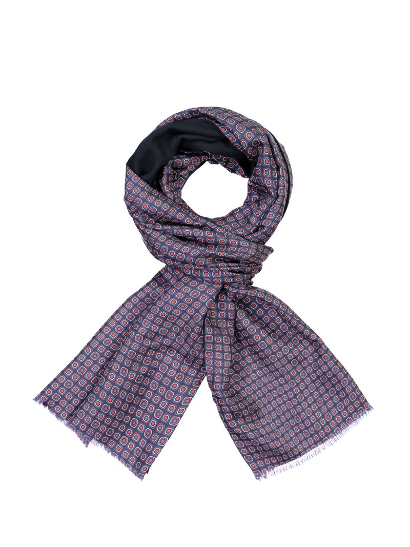 Dante High-quality scarf made of silk and wool MARINE in plus size