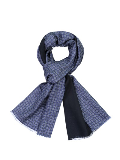 High-quality scarf made of silk and wool v BLUE