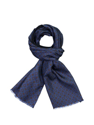 High-quality silk-wool scarf with contrasting floral pattern v MARINE