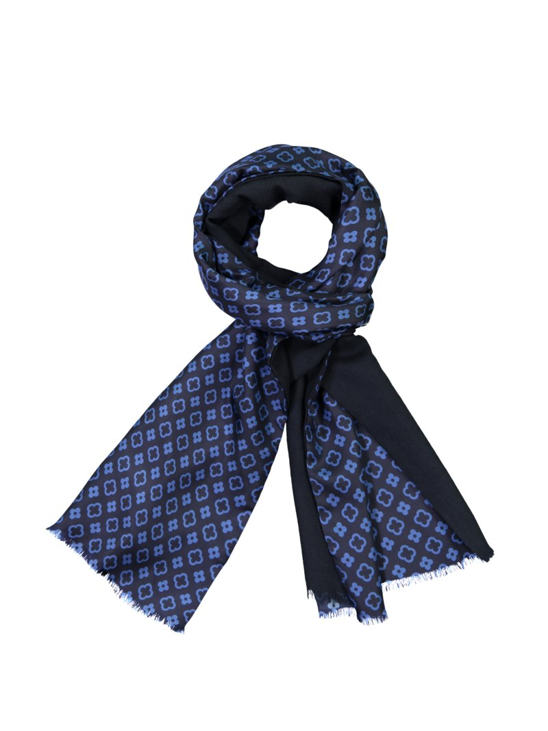 Dante High-quality silk-wool scarf with contrasting floral pattern MARINE in plus size