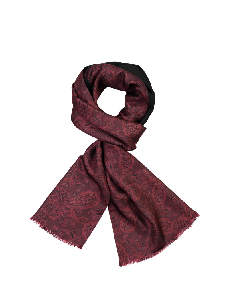 Dante High-quality silk-wool scarf with classic paisley pattern BLACK in plus size